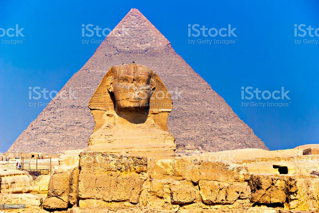 detail of the Great Sphinx of Giza, Egypt stock photo