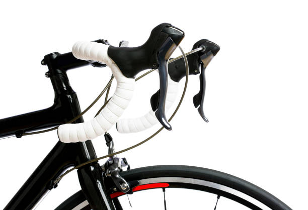 detail des lenkers, der bremsen und des rades eines teuren, hochwertigen modernen rennrads - stahlrahmen rennrad stock-fotos und bilder