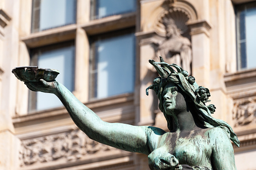Detail of the Hygieia Statue in courtyard of Town Hall Hamburg.
