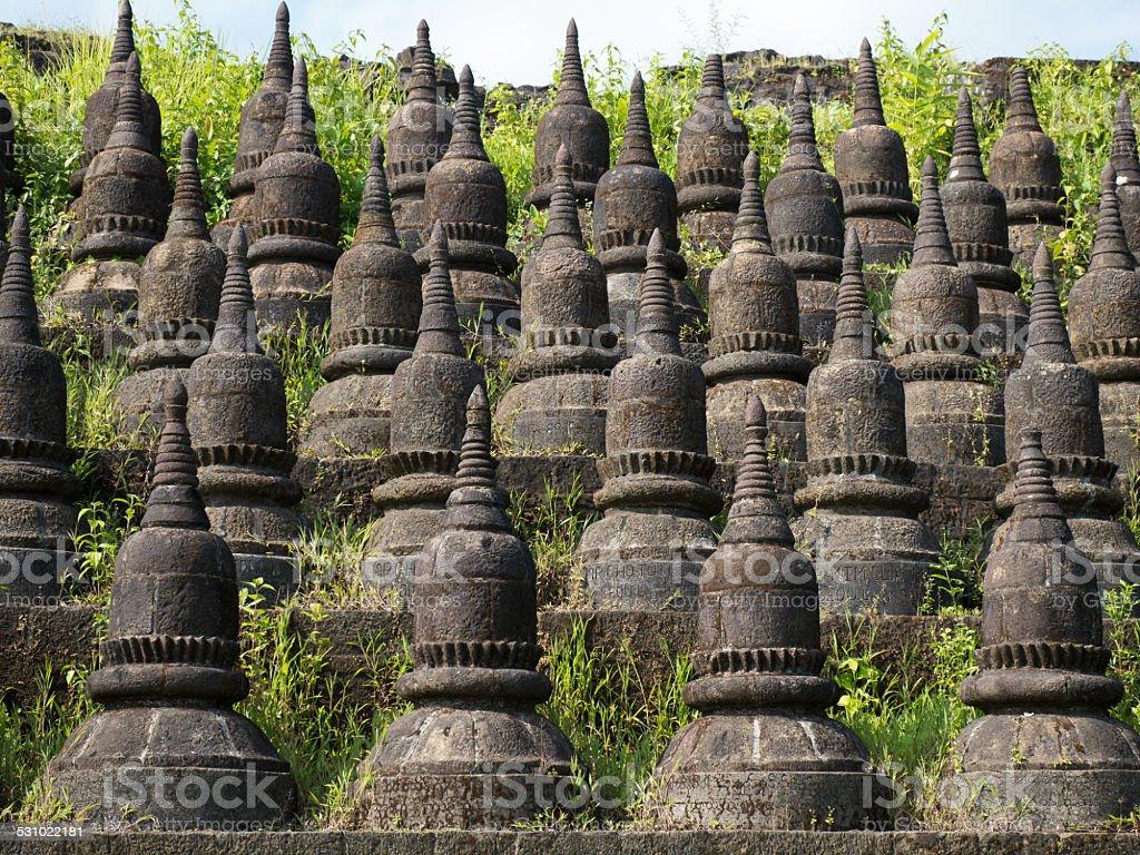 Detail of the Koe-thaung Temple in Mrauk U, Myanmar stock photo