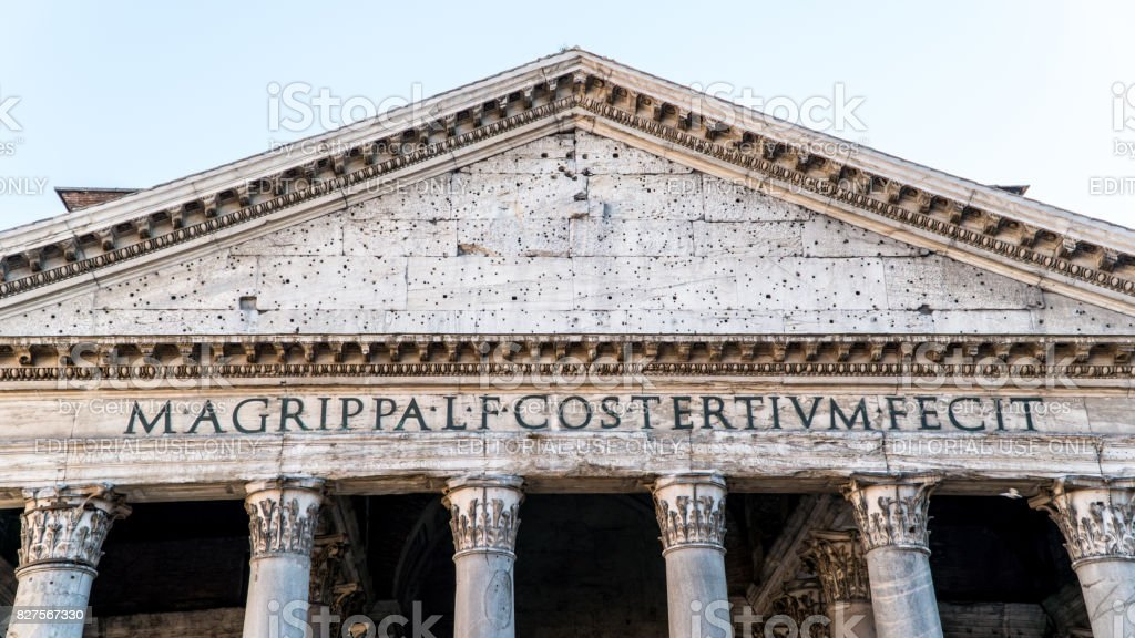 Detail of the latin writings in front of Pantheon in Rome Italy stock photo