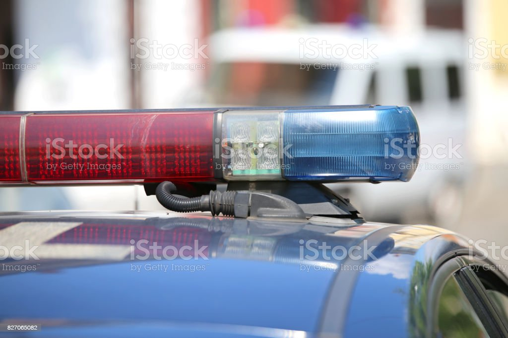 Detail of the lights of red and blue police sirens stock photo
