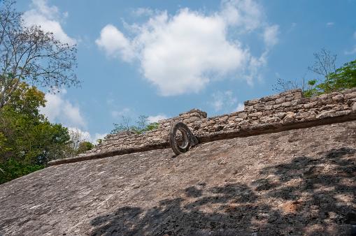 Detail of the Mayan ballgame court at Coba, Mexico