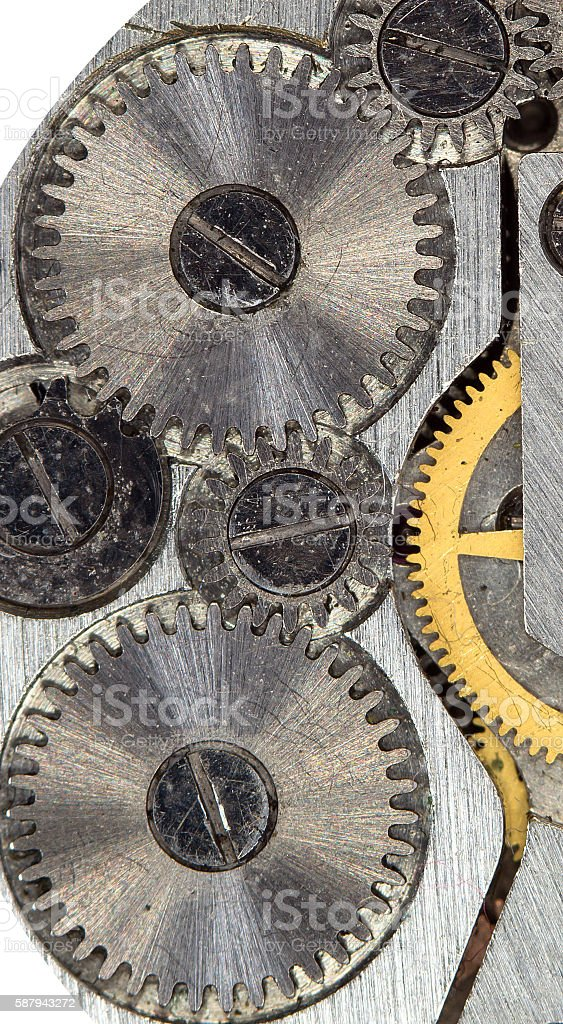 Detail of the mechanism of a wristwatch stock photo