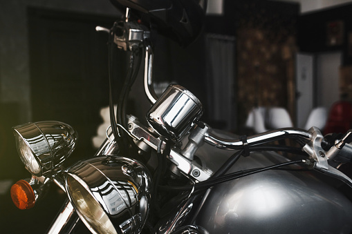 detail of the motorcycle headlight. vintage motorcycle. transport is brutal romance
