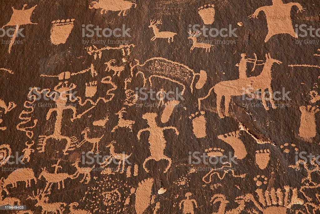 Detail Of The Petroglyph Panel Newpaper Rock in Utah stock photo