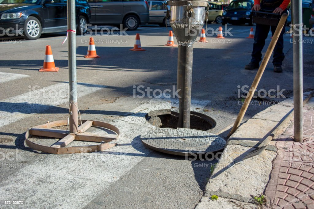 Detail Of The Pipe Of A Machine For Cleaning The Manholes stock photo