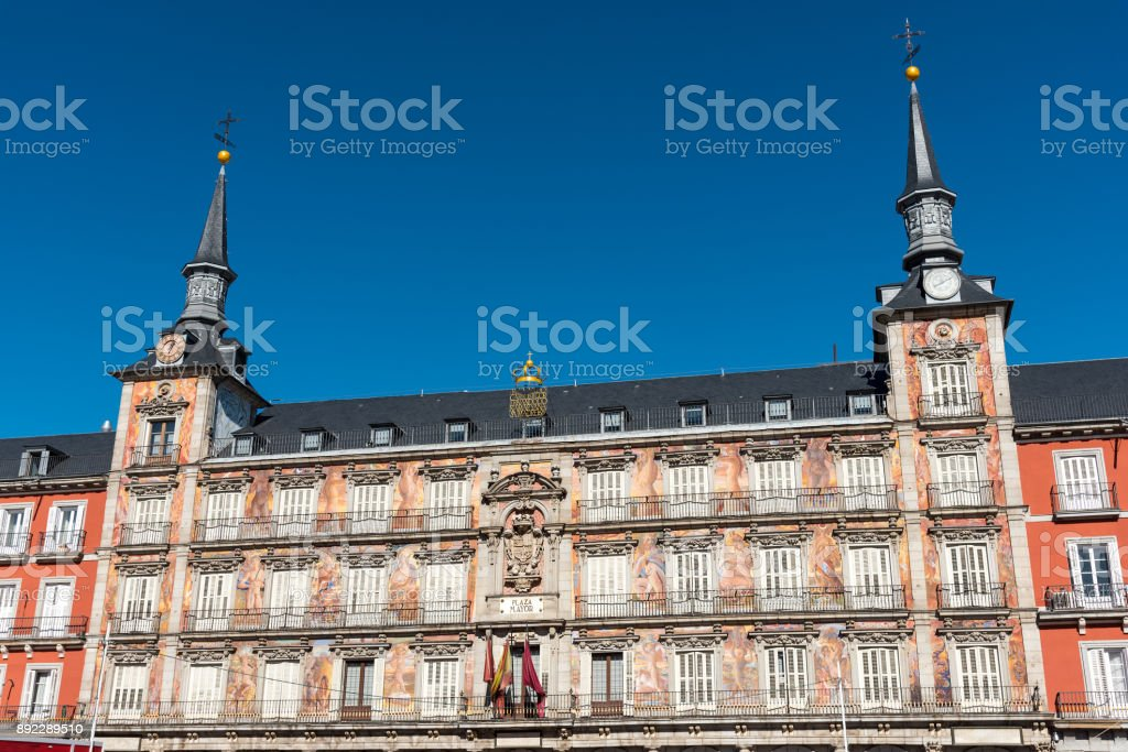 Detail of the Plaza Mayor in Madrid stock photo