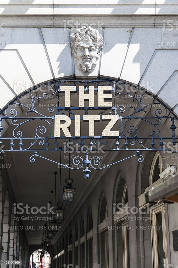 Detail of the Ritz hotel entrance. stock photo