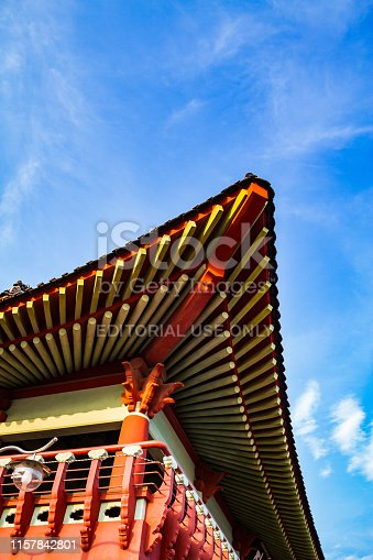 Detail of the roof of a historical Korean building in Chinhae South Korea.