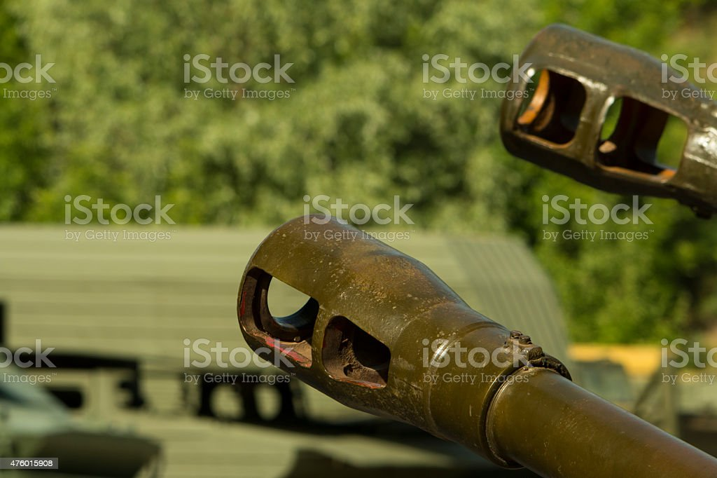 Detail of the Russian armored tank. stock photo