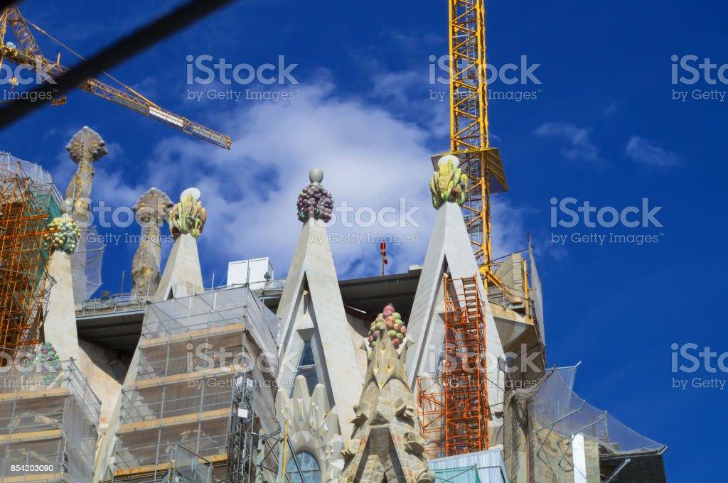 Detail of the sagrada familia's spire.Barcelona,catalunya,Barcelona,Spain,Espana.Barcellona,Catalunia,Spagna. stock photo