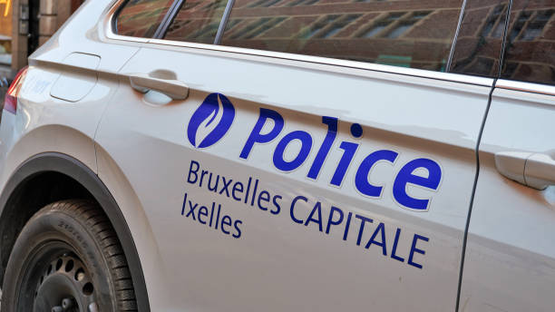 Detail of the side of a Brussels capital police car stock photo