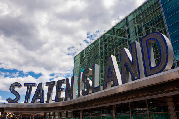 Detail of the Staten Island Ferry Terminal in New York City stock photo