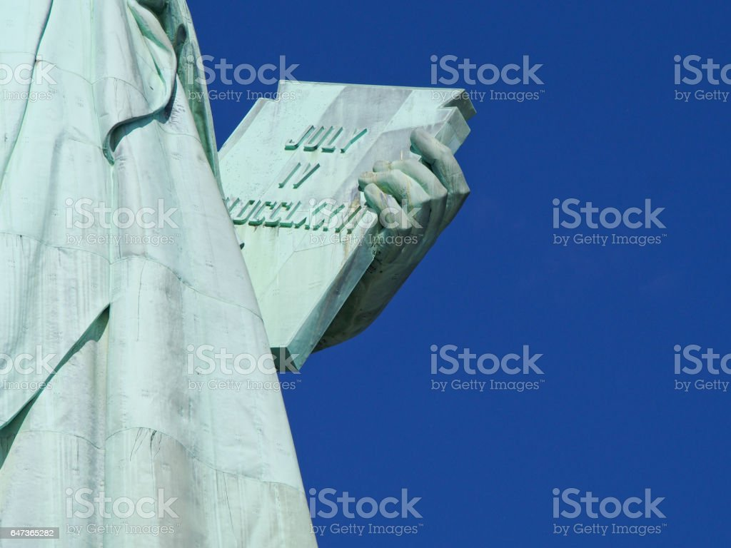 Detail of the Statue of Liberty New York City stock photo