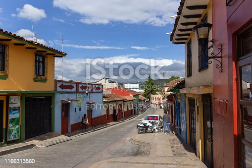 San Cristobal de las Casas, Chiapas / Mexico - 21/07/2019:  Details of the downtown streets