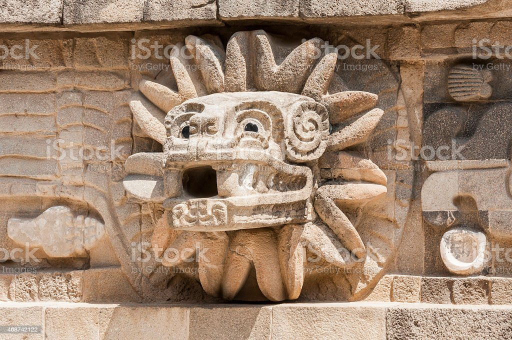 Detail of the temple of Quetzalcoatl, Teotihuacan (Mexico) stock photo