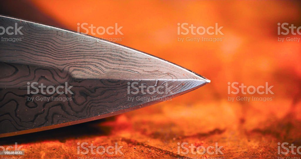 Detail of the tip of a medieval sword. stock photo