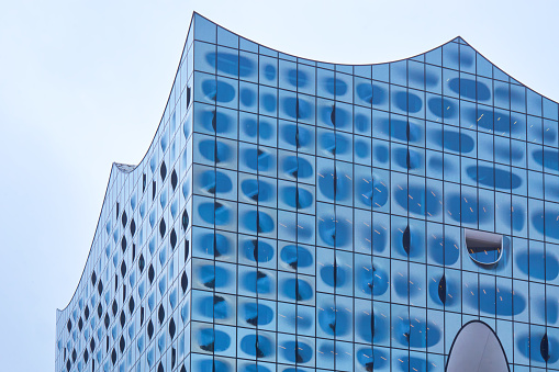 Detail of the top part of the Elbphilharmonie concert hall in Hamburg