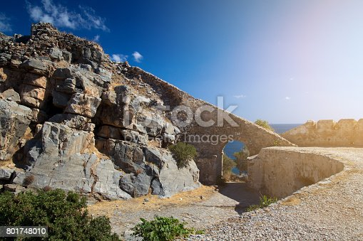 Detail of the tower on the island-fortress of Spinalonga. Crete