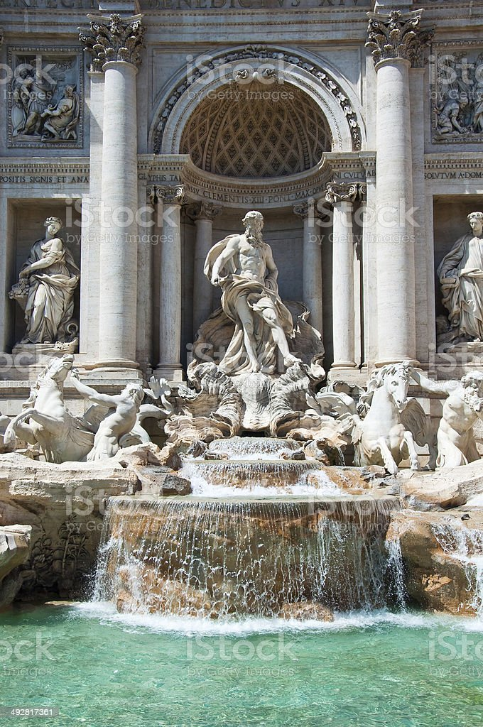 Detail of the Trevi Fountain. Rome, Italy. stock photo