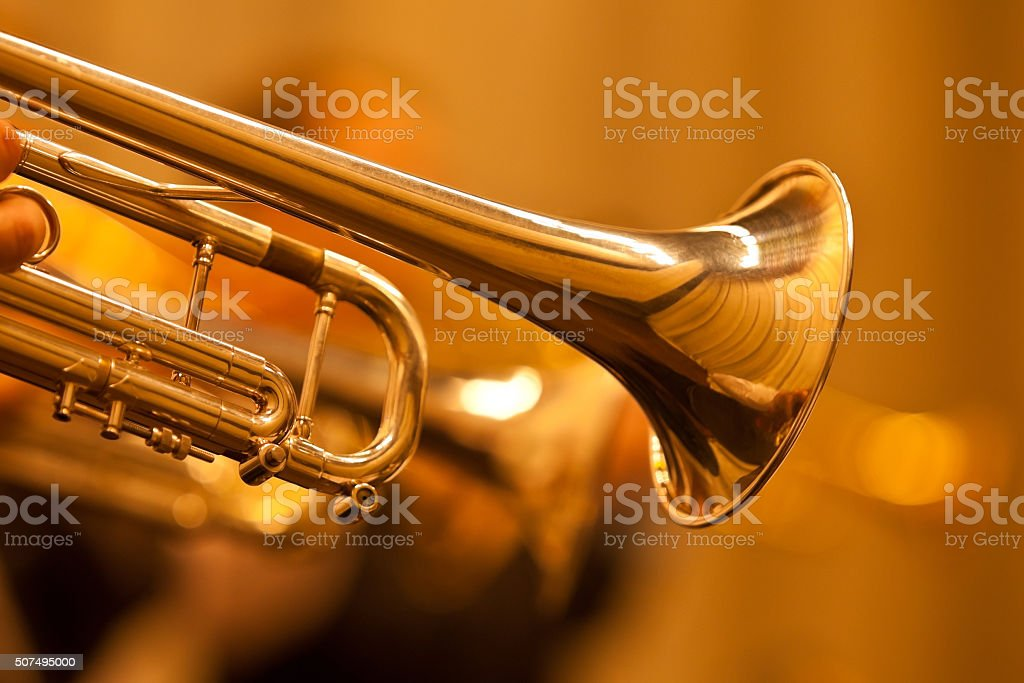 Detail of the trumpet closeup stock photo
