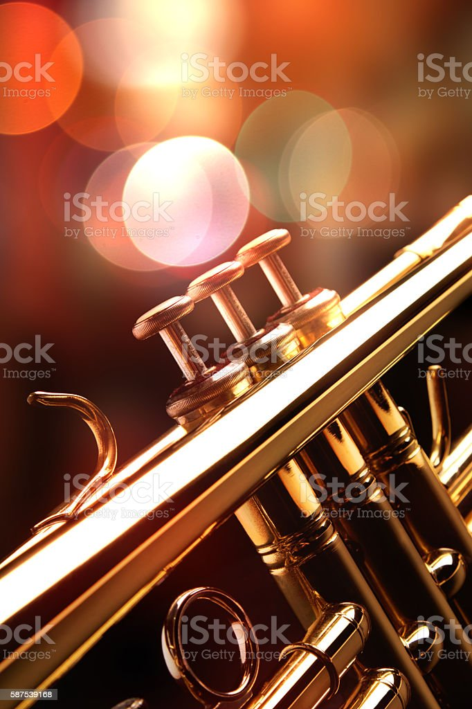 Detail of the trumpet in a jazz bar stock photo