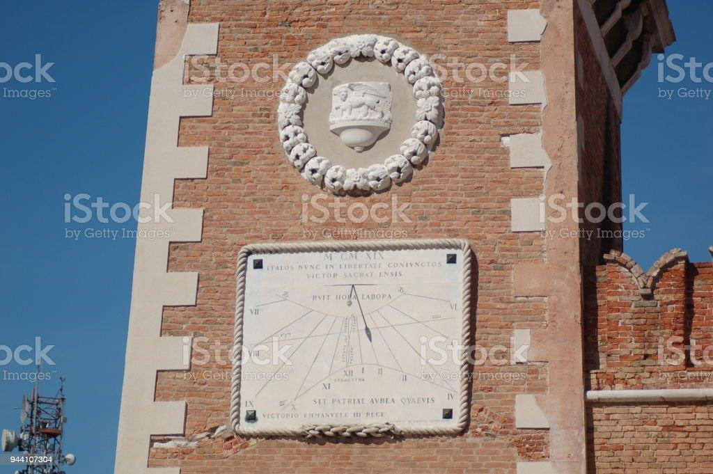 Detalhe da torre de arsenal de Veneza - foto de acervo