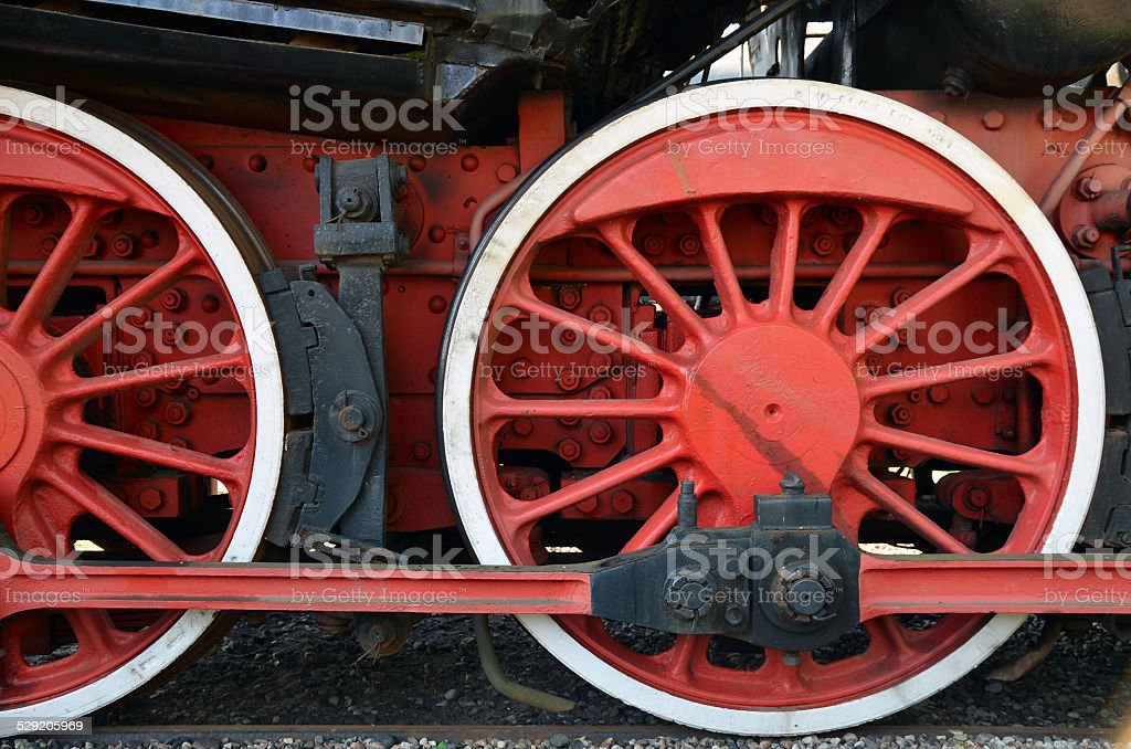 Detail of the wheels of an old steam train stock photo