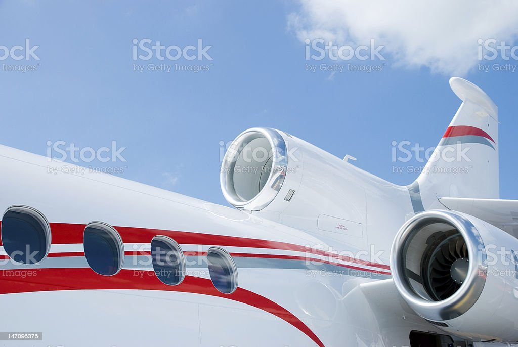 Detail of three engined corporate jet royalty-free stock photo