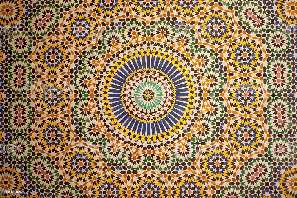 Detail of tile work at Kasbah Telouet. stock photo