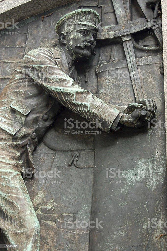 Detail of Titanic Engineer Memorial, Southampton stock photo