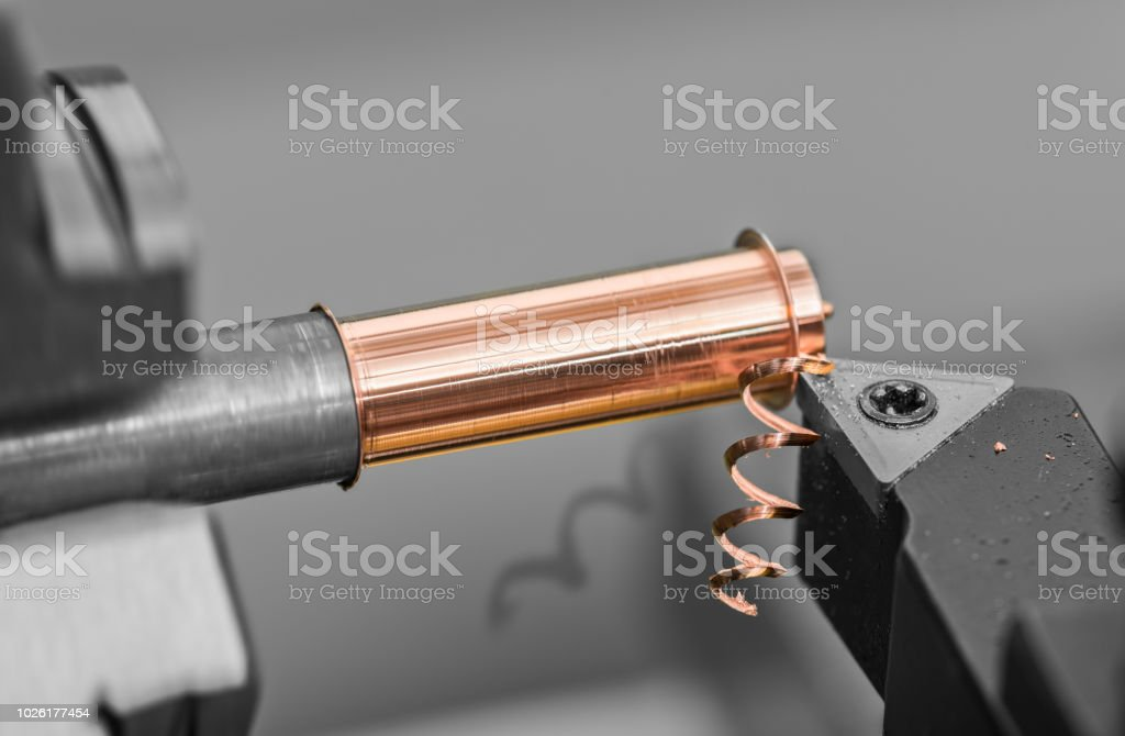 Detail of tool bit when working on a lathe stock photo