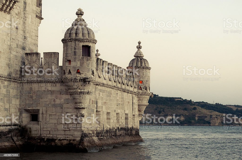 Detail of tower of Belem, Lisbon stock photo