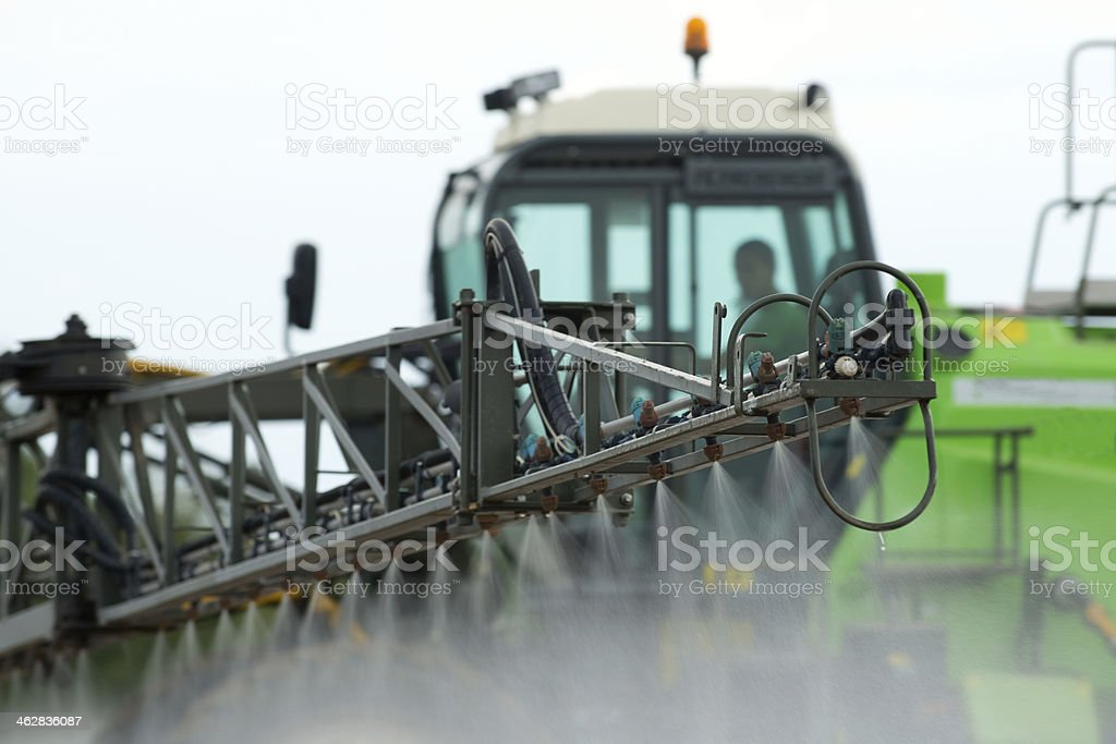 Detail of tractor sprayer. stock photo