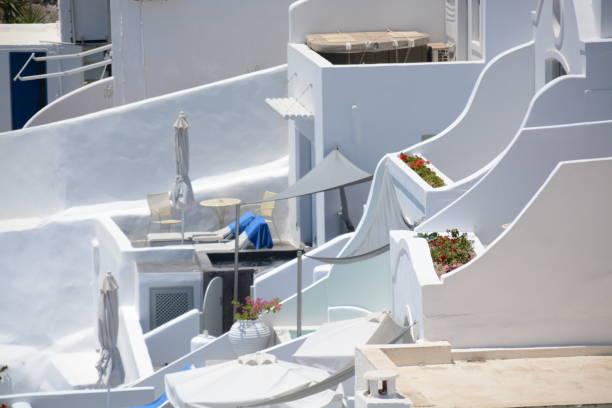 Detalle de arquitectura tradicional en Santorini - foto de stock