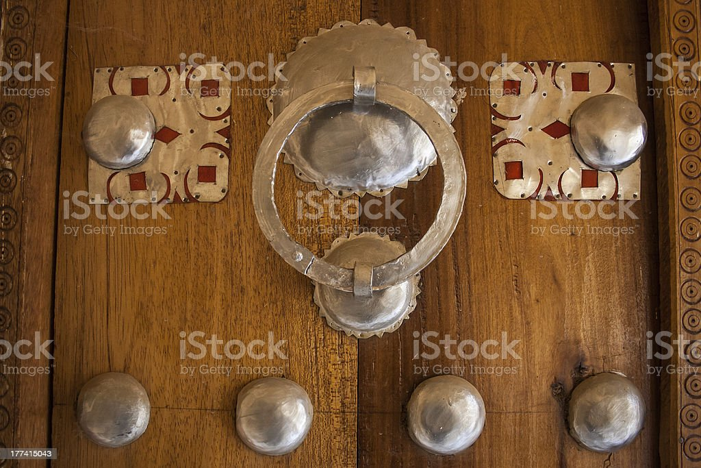 Detail of traditional door, Timbuktu. stock photo