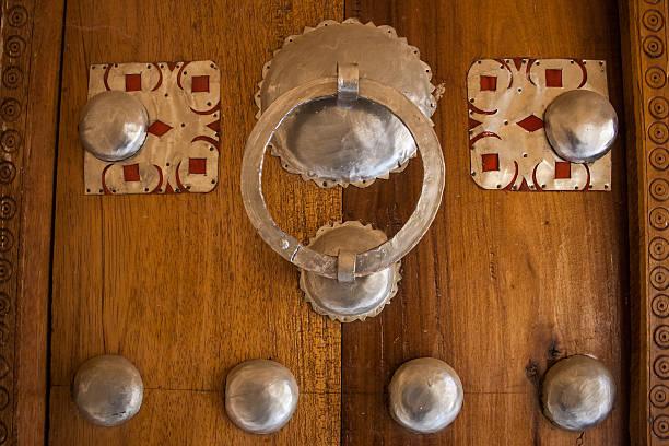 Detail of traditional door, Timbuktu. stock photo