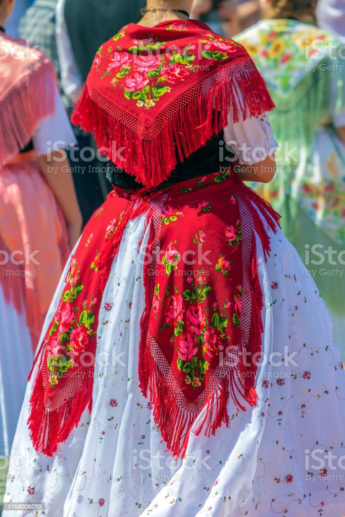 Detail of traditional German folk costume worn by women of ethnic...
