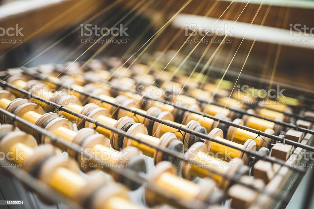 Detalhe de máquina tradicionais de tear decorações usadas na produção têxtil - foto de acervo