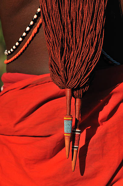 Detail of traditional Masai warrior plaited hair stock photo