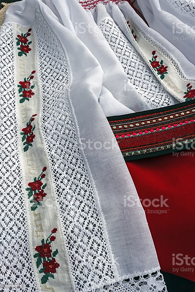 Detail of traditional Romanian port. stock photo