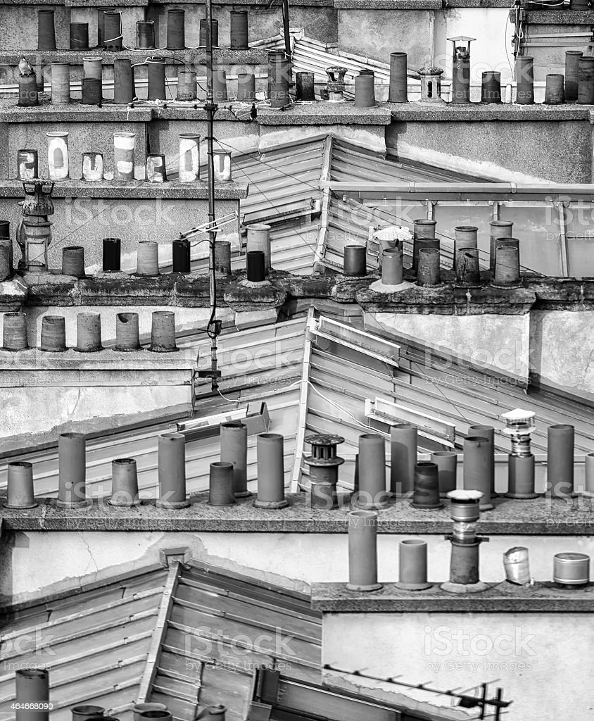Detail of Traditional Rooftops in Paris stock photo