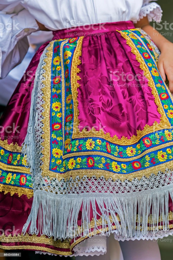 Detail of traditional Slovak folk costume worn by women stock photo