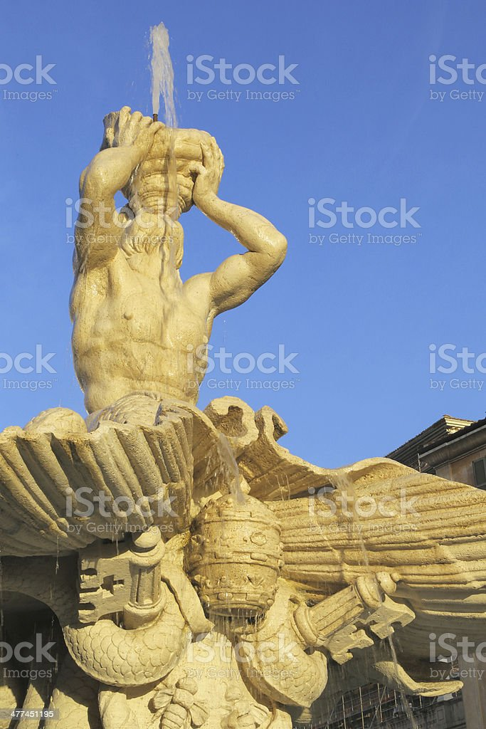 Detail of Triton Fountain by Bernini in Rome stock photo