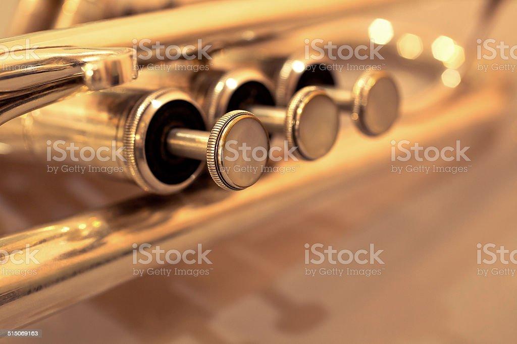 Detail of trumpet closeup stock photo