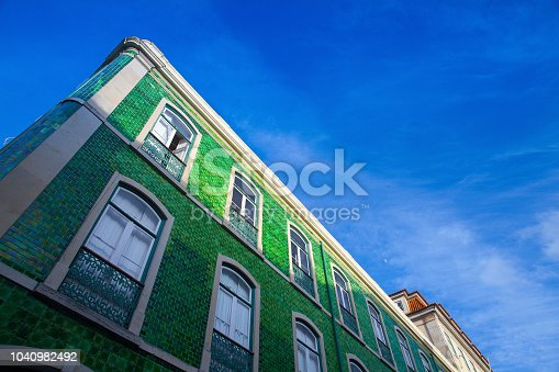 Detail of typical historic building in Lisbon at sunset, Portugal.