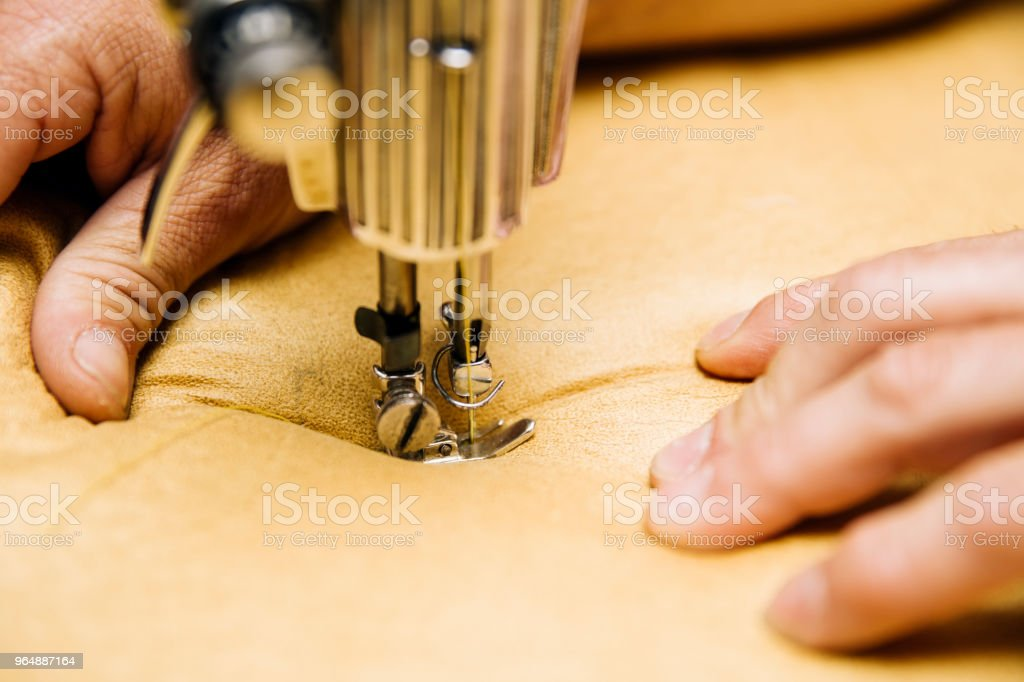 Detail of upholstery sewing machine royalty-free stock photo