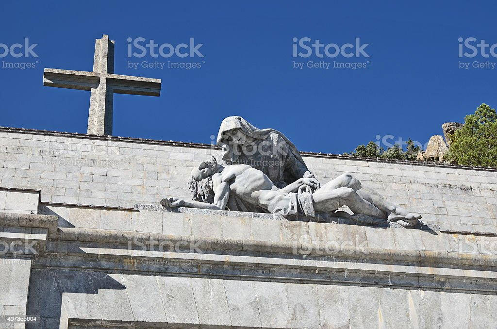Detail of Valley of the Fallen monument in Spain stock photo