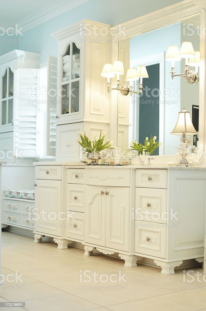 Detail of vanity table in luxurious master bathroom royalty-free stock photo